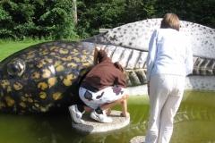 Onkel Niklas og Viggo ser på en skildpadde