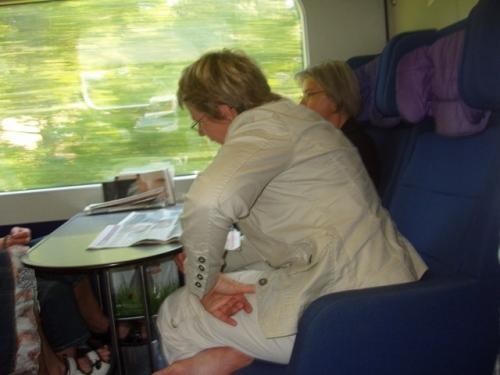 Grethe og Susanne i toget